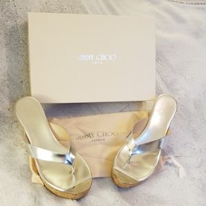 Jimmy Choo Mirror Silver Wedge Sandal